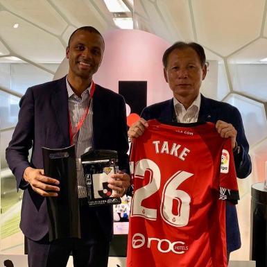 Mallorca's CEO Maheta Molango meets the J-League vice president Hiromi Hara in Tokyo.