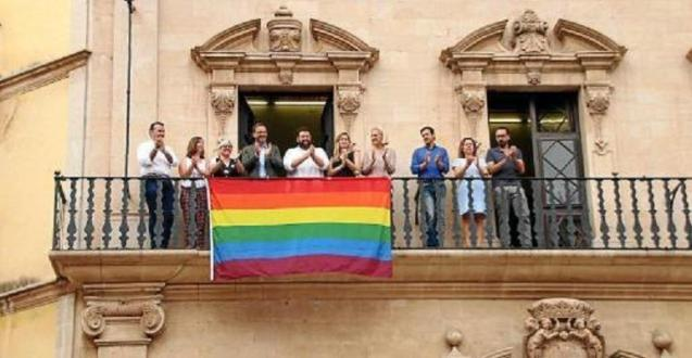 LGTBI flag on the balcony of the Town Hall for Pride festivities