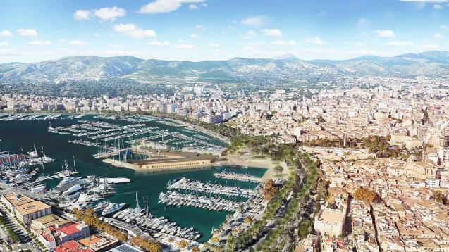 Aerial view of the port of Palma