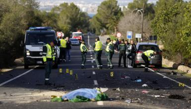 The scene of the accident at Las Palmeras, Llucmajor, Majorca.