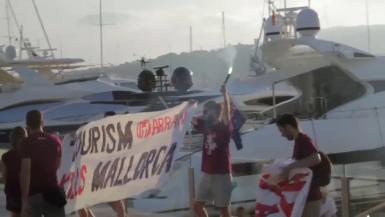 The Arran protest at the quayside in Palma, Majorca.
