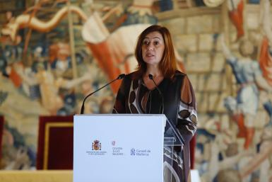 Balearic President Francina Armengol at the Almudaina Palace, Palma, Majorca.