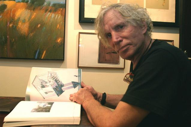 Dennis Oppenheim at a 2003 exhibition of his works at the Sa Nostra cultural centre
