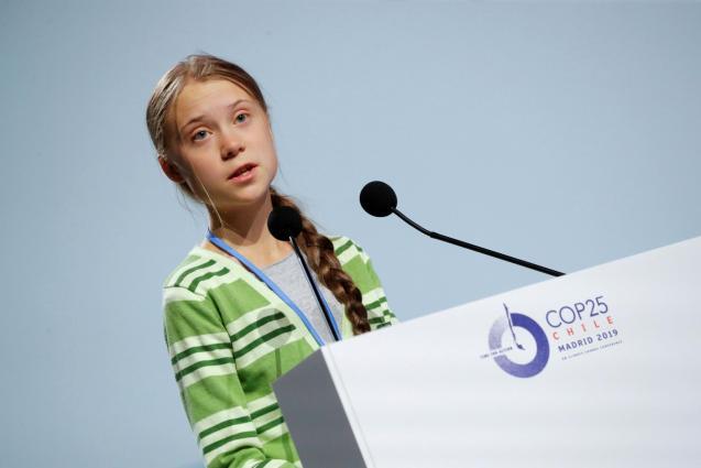 Greta Thunberg speaking at COP25 in Madrid