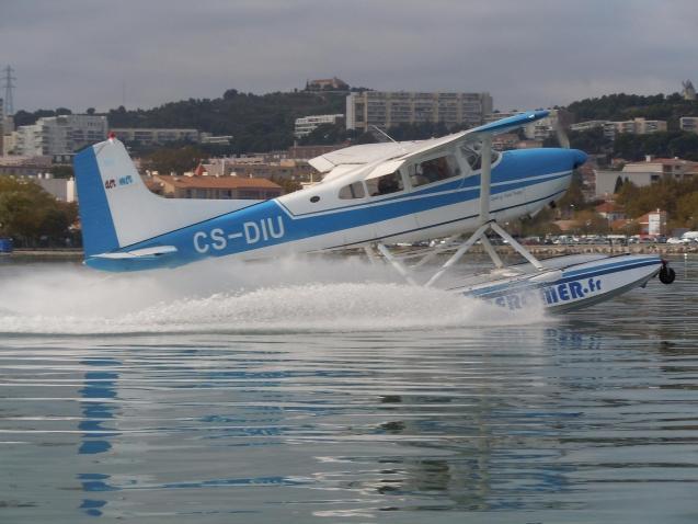 A seaplane in the Pollensa Bay, Majorca