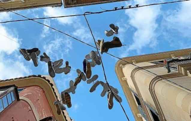 Shoes hanging in Palma