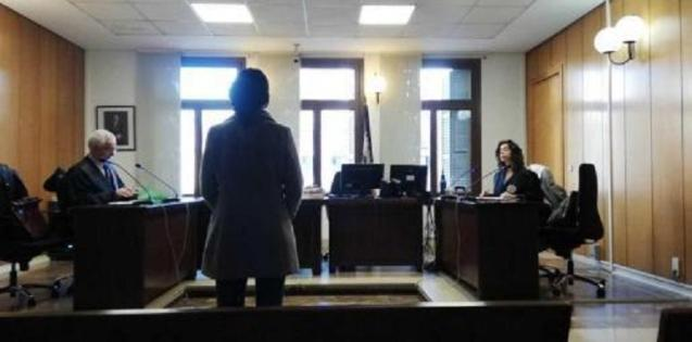 The defendant in court