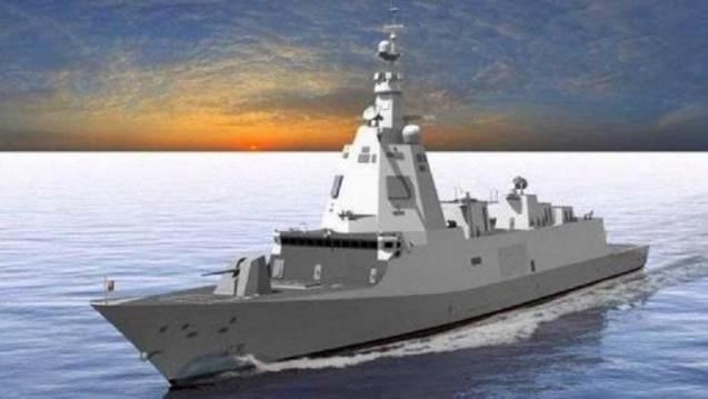 Virtual image of the future F-110 class frigate. Five units will be built for 4.5 billion.