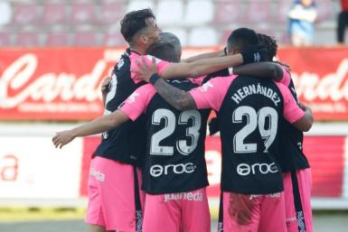 Mallorca's players celebrate Febas's goal against Zamora in the cup.