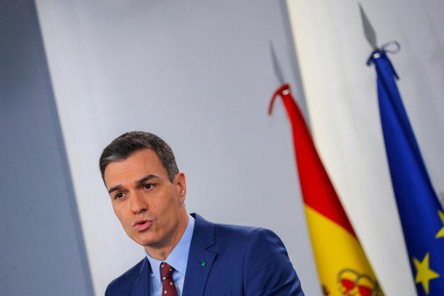 Spain's PM Sanchez delivers a statement at the Moncloa Palace