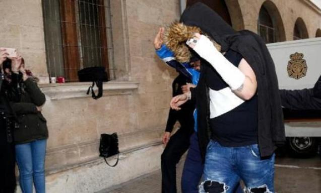 The only adult arrested for gang rape, arriving at the Palma courts