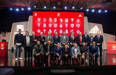 Representatives of the teams pose after the draw for the sixteenth final of the Copa del Rey held on Tuesday, January 13, the City of Football in Las Rozas, Madrid.