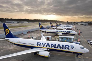 Ryanair planes at Madrid airport.
