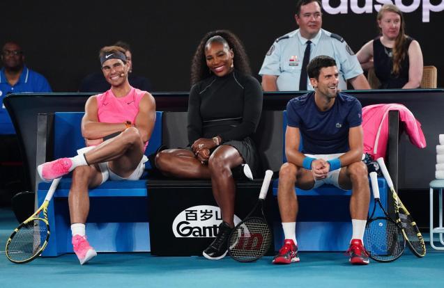 Tennis stars Majorcan Rafael Nadal, American Serena Williams and Serbian Novak Djokovic