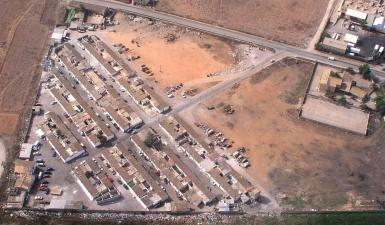 Aerial view of Son Banya, there are now only 85 homes left standing.