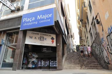 The underground shopping area of Plaça Major is closed for redevelopment.