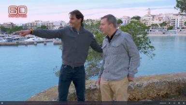 Rafael Nadal with CBS reporter Jon Wertheim.