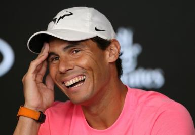 Spain's Rafael Nadal attends a news conference.