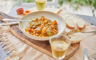 Simple lamb tagine with apricots and coriander