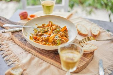 Simple lamb tagine with apricots and coriander.