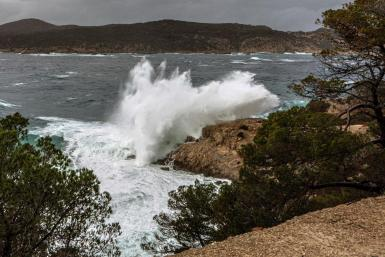 A wave twice the size of a double decker bus crashed into Sa Dragonera,