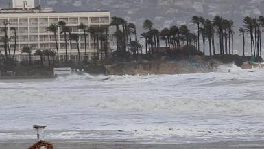 Winds whip the palm trees as Storm Gloria batters the coastline in Javea, Spain January 20, 2020 in this still image taken from social media video. @sofiamoralm/Sofia Moral via REUTERS. MANDATORY CREDIT. SPAIN-WEATHER/STORM-GLORICA-UGC