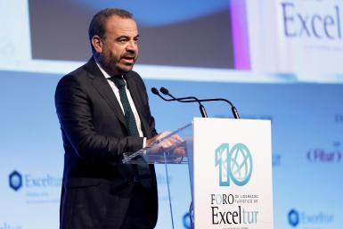 Gabriel Escarrer speaking at the Exceltur forum in Madrid on Tuesday.