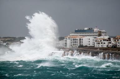 Waves hit Porto Colom.