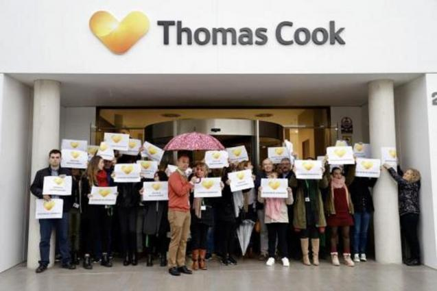 Thomas Cook employees protesting outside the offices