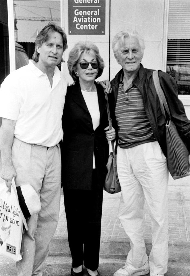 Kirk Douglas with his wife and son, Michael Douglas
