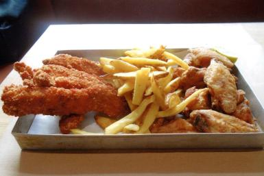 Our chicken meal on a llauna tray.