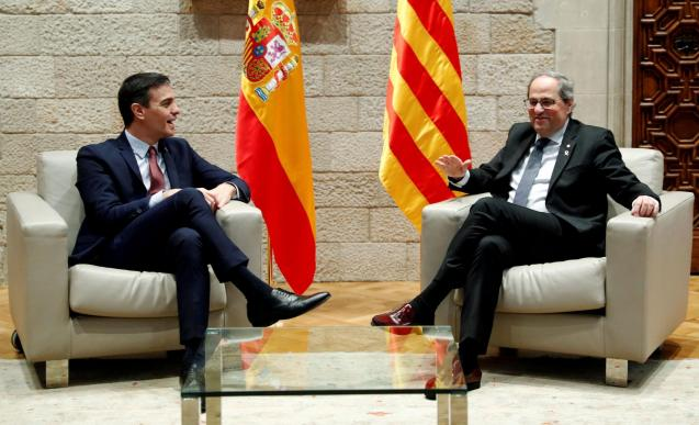 Spain's PM Sanchez and Catalan regional leader Quim Torra meet in Barcelona