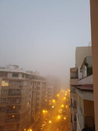 Palma street shrouded in fog