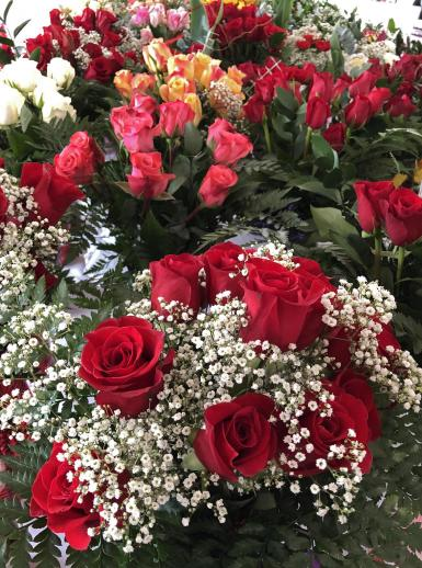 Flowers and gifts for Valentine's Day are displayed for sale at a local store in Commerce, Texas.