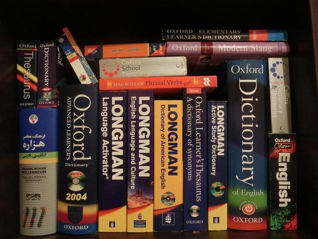Several dictionaries on a shelf