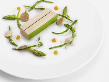 Pressed foie gras with black truffles and green asparagus jelly.