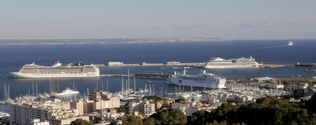 Cruise ships docked in Palma's port