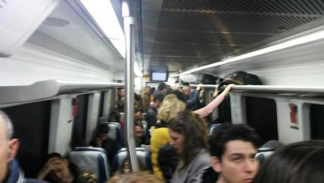 Overcrowded train.