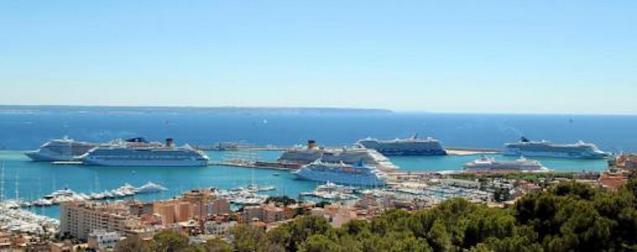 Cruise ships docked in Palma.