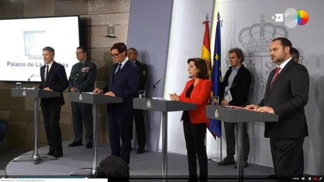Interior Minister, Fernando Grande Marlaska, Health Minister, Salvador Illa, Defence Minister, Margarita Robles, Transport Minister, José Luis Ábalos