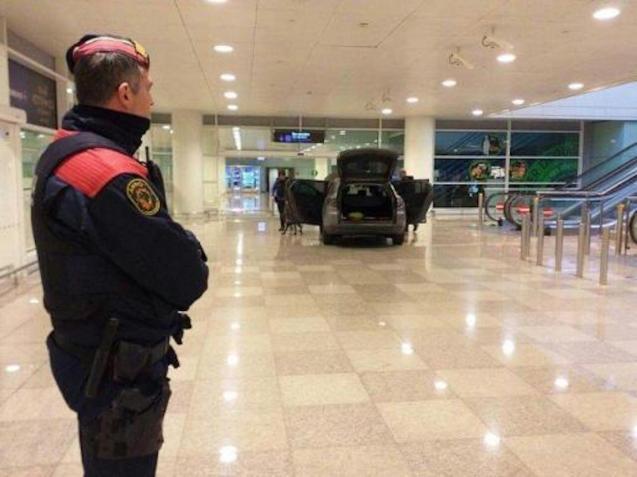 A car inside Terminal 1 of Barcelona's El Prat airport.