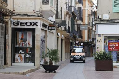 Shopping streets are all but deserted.