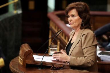 Spain's deputy prime minister Carmen Calvo speaks in parliament in Madrid.
