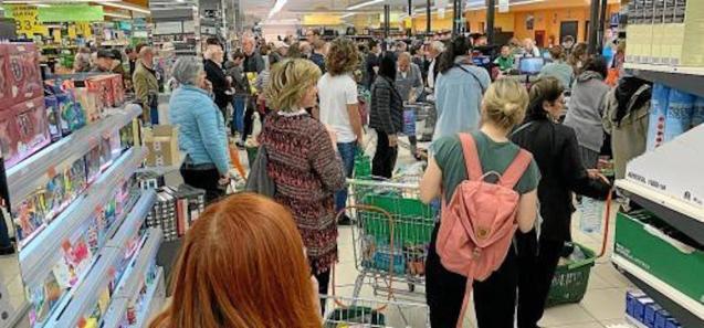 Supermarket sales soaring.