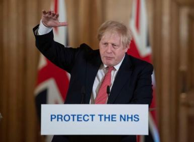 British Prime Minister Boris Johnson attends a news conference on the ongoing situation with the coronavirus disease (COVID-19) in London, Britain March 20, 2020.