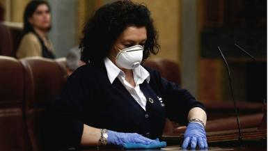 Valentina Cepeda, a cleaner at Congress in Madrid.