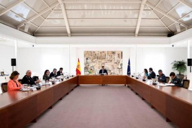 Spanish PM, Pedro Sánchez & Coronavirus Technical Management Committee at the Palacio de la Moncloa on Tuesday.