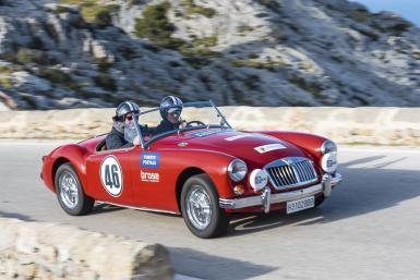 Lovely MGA tackling the spectacular Rally Clasico Mallorca.