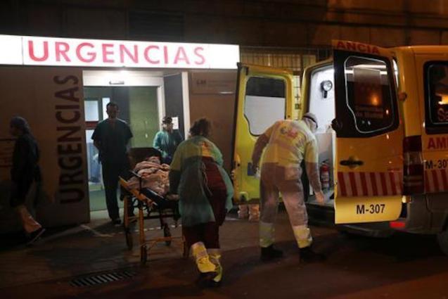 Ambulance workers at La Princesa hospital in Madrid.