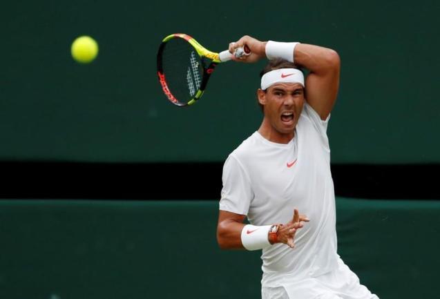 Rafael Nadal at Wimbledon in 2018